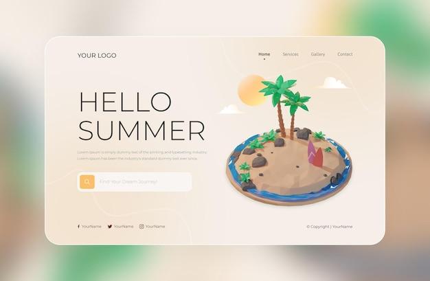 3d визуализация шаблона дизайна целевой страницы hello summer