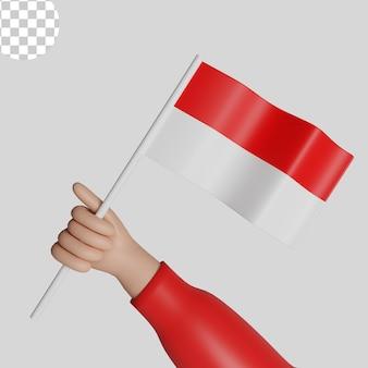 인도네시아 빨간색과 흰색 플래그 psd premium의 3d 렌더링