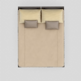 3d представляют изометрической кровати Premium Psd
