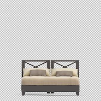 아이소 메트릭 침대의 3d 렌더링