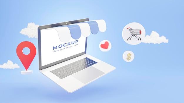 온라인 개념 쇼핑 노트북 저장소의 3d 렌더링