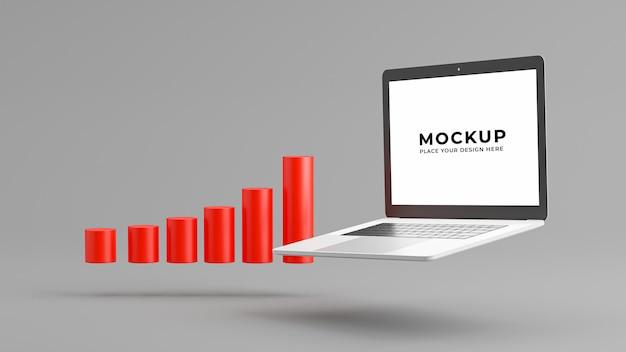3d визуализация ноутбука с макетом бизнес-графика