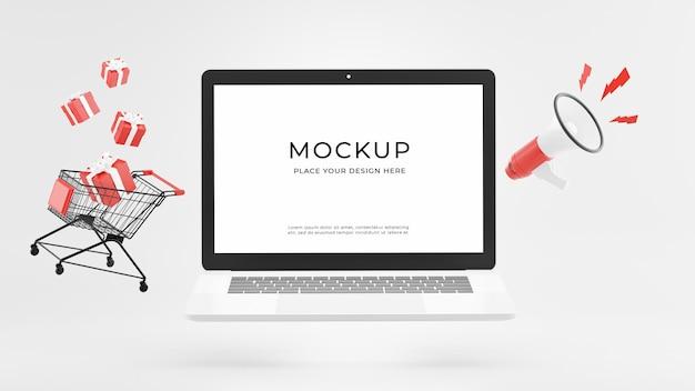 ショッピング時間の概念のモックアップデザインとラップトップの3dレンダリング