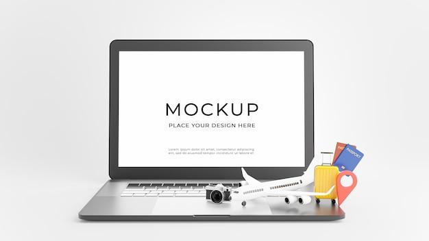 3d визуализация ноутбука с концепцией отпускного туризма
