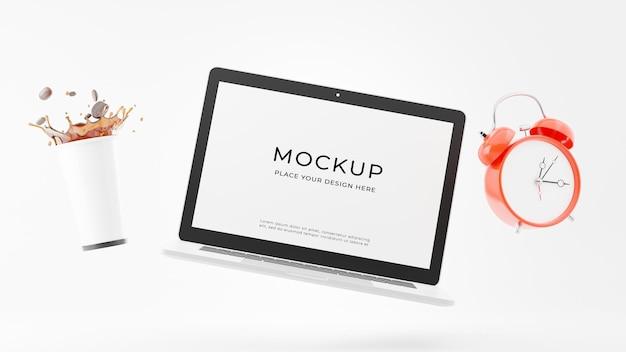 흰색 머그잔 커피 모형 디자인 노트북의 3d 렌더링