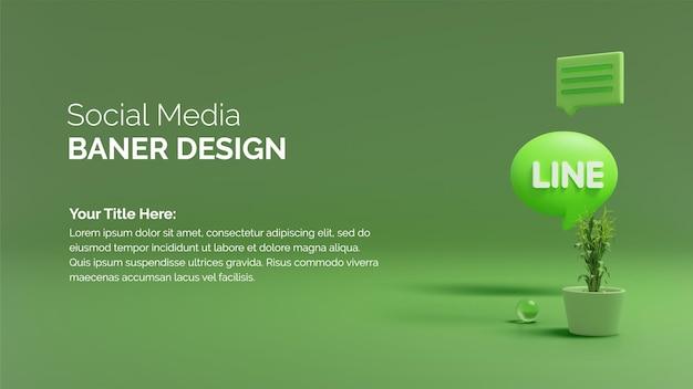 라인 아이콘 소셜 미디어 응용 프로그램 및 나무 욕조의 3d 렌더링