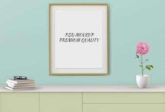 リビングルームのモックアップ空白ポスターの3 dレンダリング。