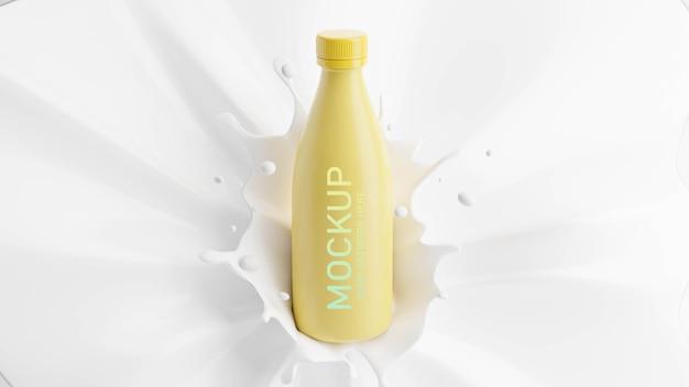 모형 브랜딩을위한 스플래시와 우유 병의 3d 렌더링