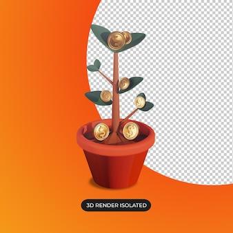 돈 나무의 3d 렌더링 격리 성장