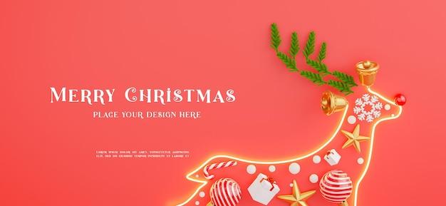3d визуализация неонового света оленя с украшением с рождеством христовым для демонстрации вашего продукта