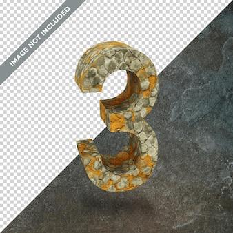 격리 된 배경으로 번호 3의 3d 렌더링