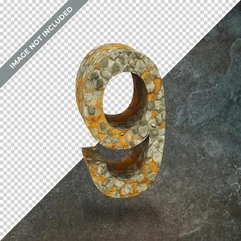 격리 된 배경으로 번호 9의 3d 렌더링