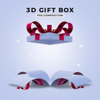 열린된 깜짝 선물 상자의 3d 렌더링
