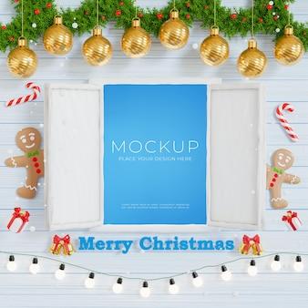 3d визуализация открытого окна с концепцией счастливого рождества и нового года для отображения вашего продукта