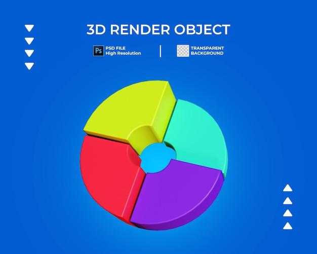 절연 원형 다이어그램 아이콘의 3d 렌더링 프리미엄 PSD 파일