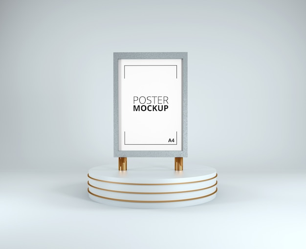 3d визуализация макета плаката бело-золотой рамы