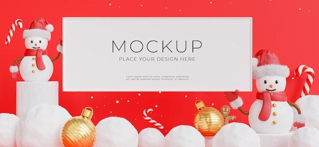3d визуализация плаката или рамки с рождественским снеговиком для демонстрации вашего продукта