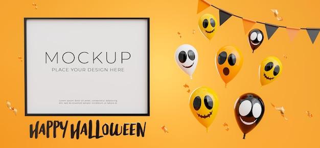 あなたの製品のディスプレイのための幸せなハロウィーンのコンセプトを持つポスターやフレームの3dレンダリング