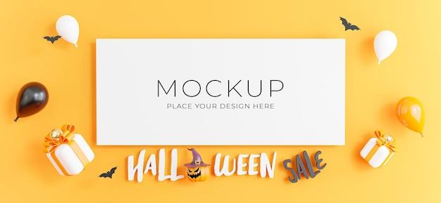 製品展示のためのハロウィーンのショッピングセールのコンセプトを持つポスターの3dレンダリング