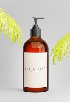 3d визуализация бутылки с насосом с пальмовым листом для демонстрации вашего продукта