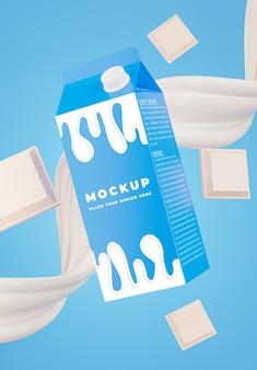 제품에 대한 우유 크림과 함께 현실적인 우유 병의 3d 렌더링