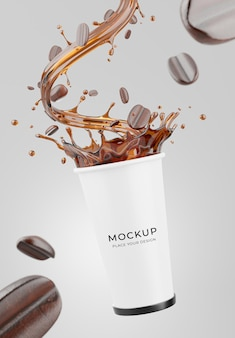 コーヒースプラッシュモックアップと現実的なコーヒーマグの3dレンダリング