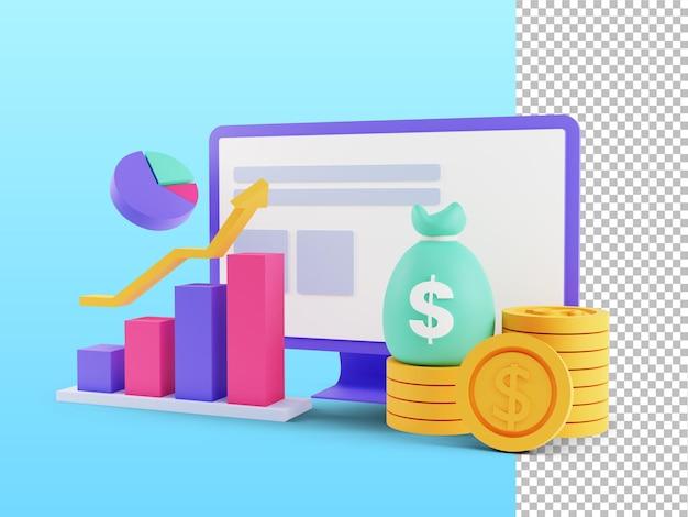 Roi 개념의 3d 렌더링 재무 차트 이익 수입을 관리하는 투자 수익