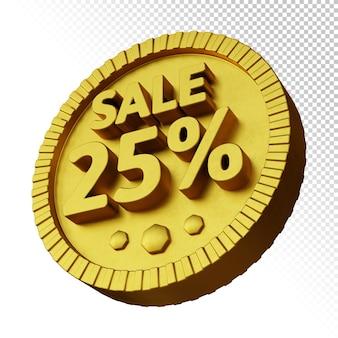 3d-рендеринг продажи 25% скидки с изолированным золотым жирным круглым значком