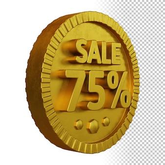 고립 된 황금 굵은 원형 배지와 판매 75 % 할인의 3d 렌더링