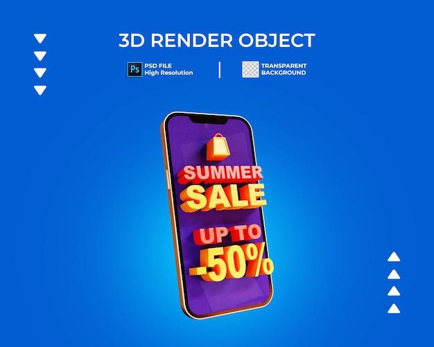 3d визуализация продажи баннера с изолированным телефоном