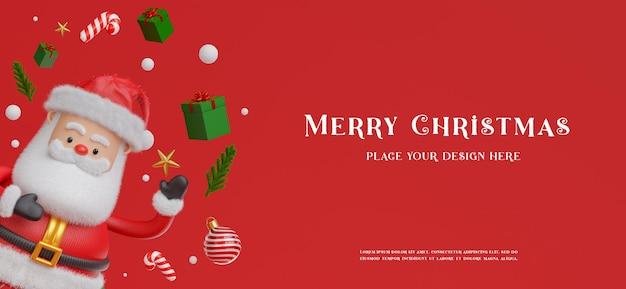 3d-рендеринг санта-клауса с украшением с концепцией счастливого рождества для демонстрации вашего продукта