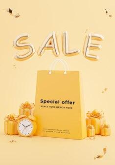 할인 판매 개념 장식 쇼핑백의 3d 렌더링