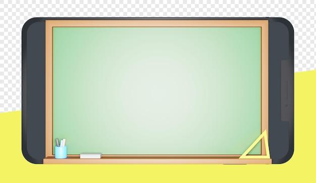 分離されたオンライン教育のための黒板とスマートフォンの3dレンダリング
