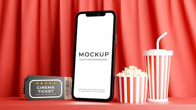 モックアップ デザインのための映画館の時間を持つスマートフォンの 3 d レンダリング
