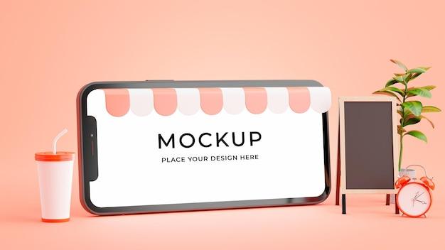 커피 숍 개념 모형과 스마트 폰의 3d 렌더링