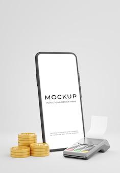クレジットカードリーダーのモックアップデザインを備えたスマートフォンの3dレンダリング
