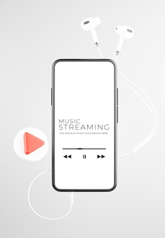 音楽ストリーミング モックアップ デザインのイヤホン付きスマートフォンの 3 d レンダリング