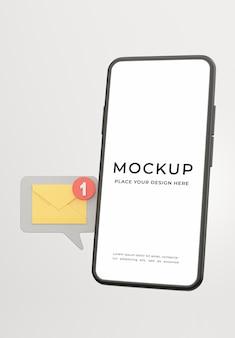 モックアップ デザインのメール通知アイコンが付いたスマートフォンの 3 d レンダリング