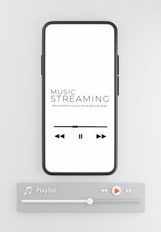 音楽ストリーミング コンセプト モックアップ デザインを備えたスマートフォンの 3 d レンダリング