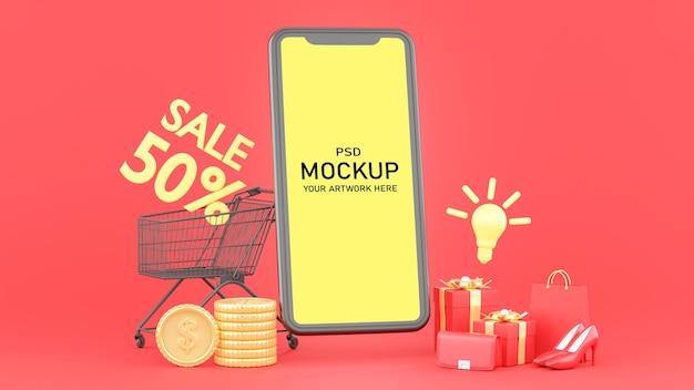 モックアップのオンラインショッピングコンセプトを持つスマートフォンの3dレンダリング