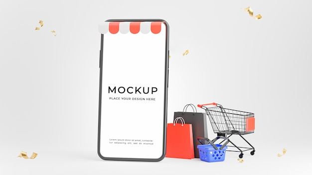쇼핑 개념 스마트 폰의 3d 렌더링