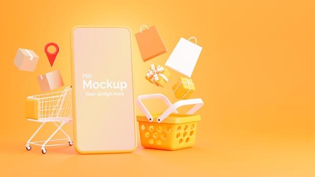 쇼핑 온라인 개념 스마트 폰의 3d 렌더링