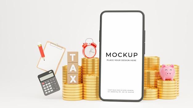モックアップ デザインの納税期限付きのスマートフォンの 3 d レンダリング