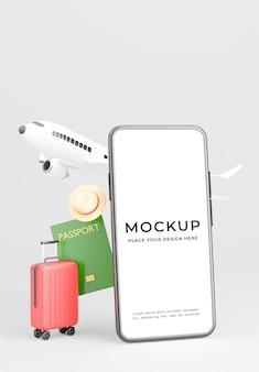 観光コンセプトのモックアップデザインでスマートフォンの3dレンダリング