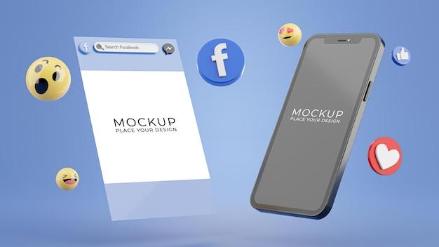페이스 북 아이콘 모형과 스마트 폰의 3d 렌더링