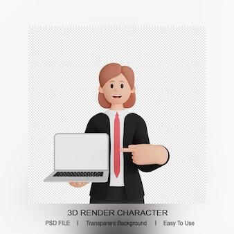 노트북을 가리키는 웃는 여자 캐릭터의 3d 렌더링