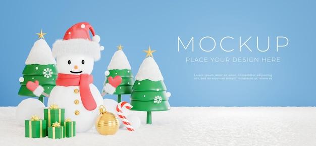 3d визуализация снежного человека с концепцией счастливого рождества для демонстрации вашего продукта