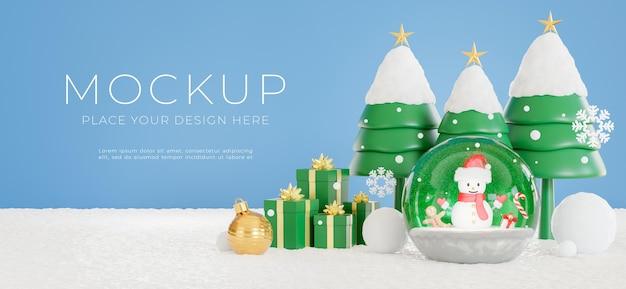 3d-рендеринг снеговика в хрустальном шаре с концепцией счастливого рождества для демонстрации вашего продукта