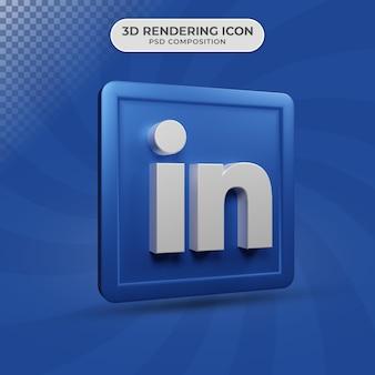 소셜 미디어 링크드 인 아이콘 디자인의 3d 렌더링
