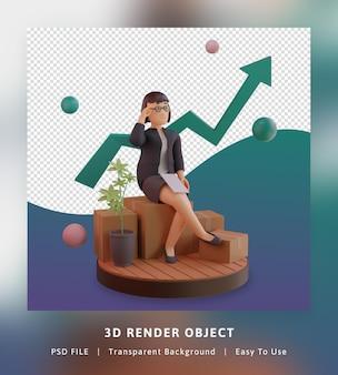 통계 그래프와 세련된 캐릭터의 3d 렌더링